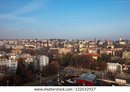 view of historical residential district in Prague, Czechia