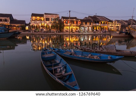 View of Hoi An at dusk. Hoi An is an UNESCO World Heritage site in Vietnam. - stock photo