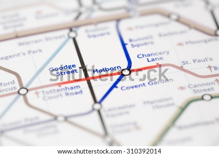 View of Holborn station on a London subway map. (selective colouring) - stock photo