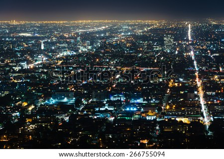 View of Hollywood at night, from Griffith Observatory, in Griffith Park, Los Angeles, California. - stock photo