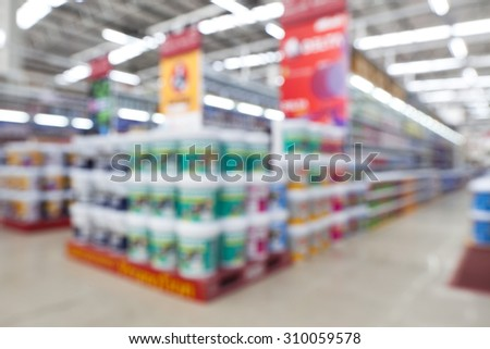 view of home painting department at hardware store ,blur image. - stock photo