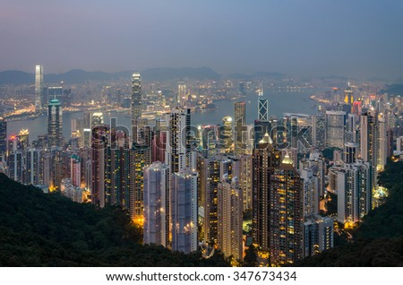 View of Hong Kong city from Victoria peak at blue hour - stock photo