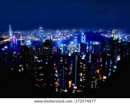 view of Hong Kong downtown from Victoria Peak at night