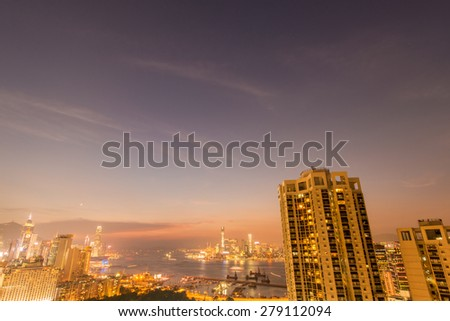 View of Hong Kong during sunset hours - stock photo