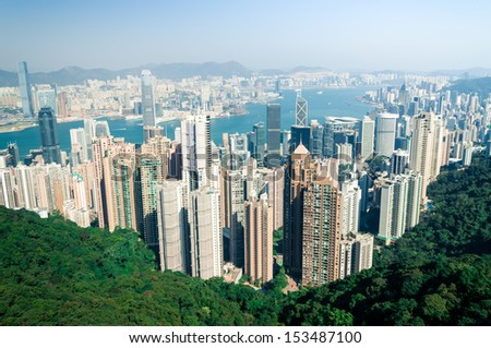 View of Hong Kong from Victoria Peak. - stock photo