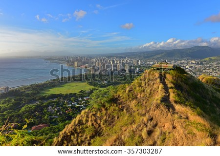 View of Honolulu and Waikiki Beach area from summit of Diamond Head volcano in Oahu, Hawaii