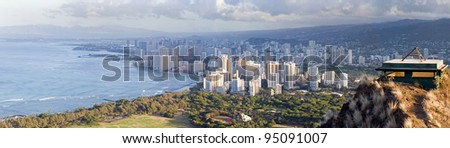 View of Honolulu from on top of diamond head volcano in hawaii