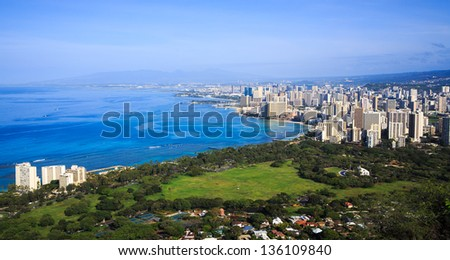 View of Honolulu from the Diamond Head Crater Summit - stock photo