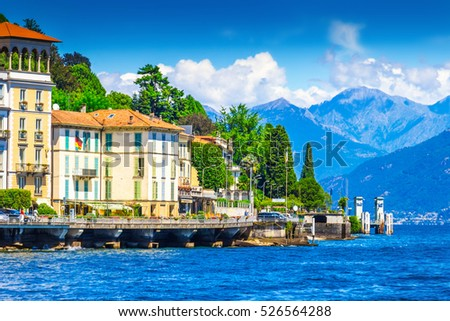 View of hotels and villas along Como lake, Cadenabbia, Italy.