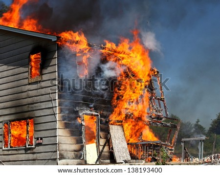 View of House fire - stock photo