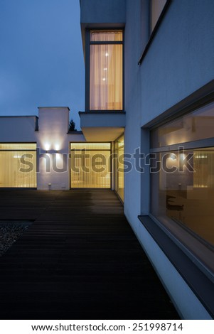 View of house terrace in the evening - stock photo