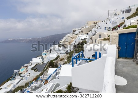 View of houses and picturesque in Santorini island, Aegean sea in Greece.