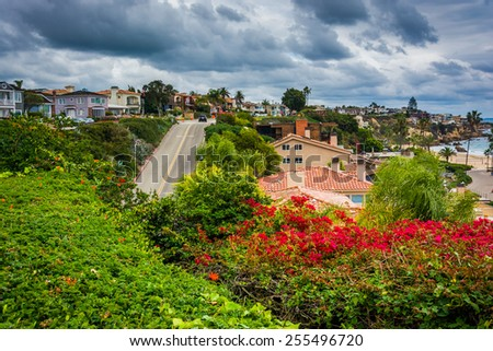 View of houses and the Fernleaf Ramp in Corona del Mar, California. - stock photo