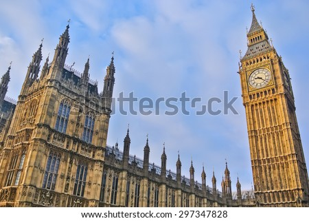 View of Houses of Parliament in London - stock photo