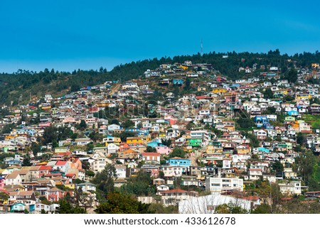 View of houses on Valparaiso hills, Chile - stock photo