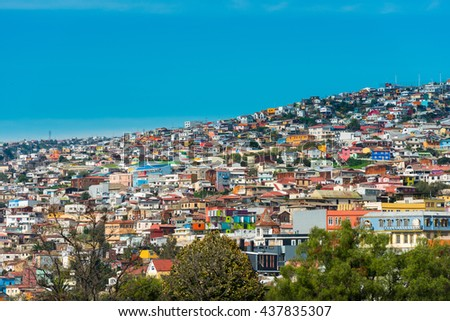 View of houses on Valparaiso hills, Chile
