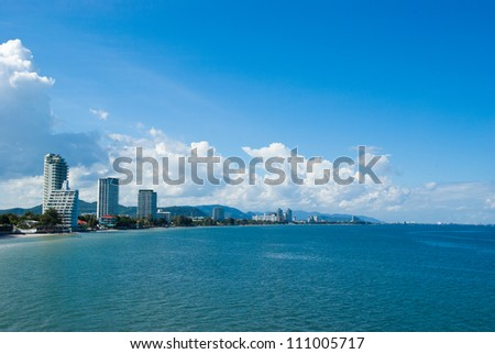 View of Hua Hin Beach, Thailand.
