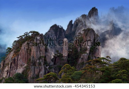 View of Huangshan from Cooling Terrace, Anhui, China. Of all the notable mountains in China, it is probably the most famous to be found in the south of Anhui province.