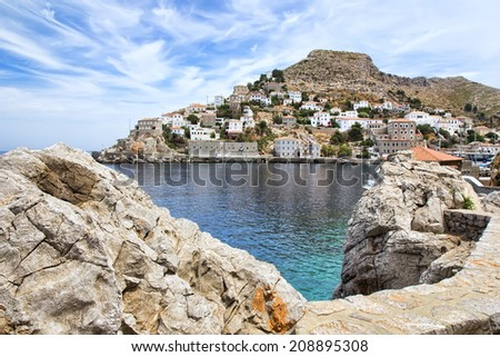 View of Hydra or Ydra, a picturesque Greek Saronic island in the Aegean Sea. - stock photo