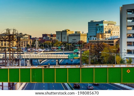 View of I-83 and buildings from a bridge in Baltimore, Maryland. - stock photo