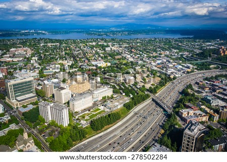View of I-5 and Lake Washington, in Seattle, Washington. - stock photo