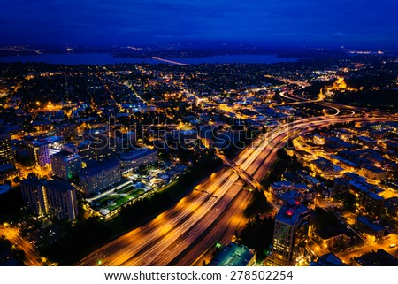 View of I-5 at night, in Seattle, Washington.