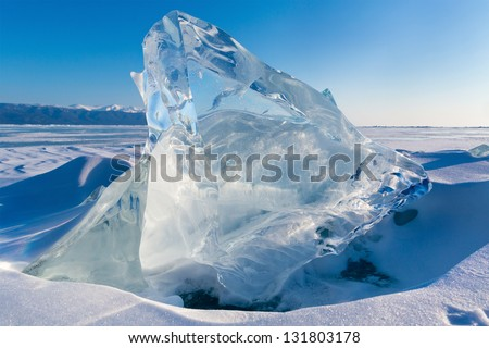View of Ice floe on winter Baikal lake - stock photo