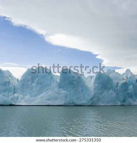 View of icebergs in lake, Grey Glacier, Grey Lake, Torres del Paine National Park, Patagonia, Chile
