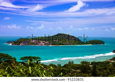 View of Ile Therese, west coast of Seychelles Islands