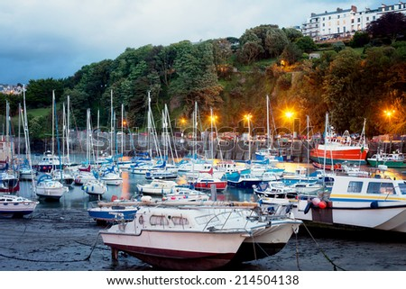 View of Ilfracombe harbour at dusk, Devonshire, England - stock photo
