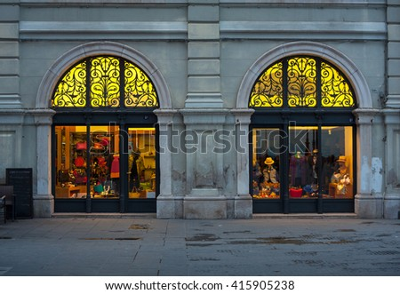 View of illuminated shop window in Trieste - stock photo