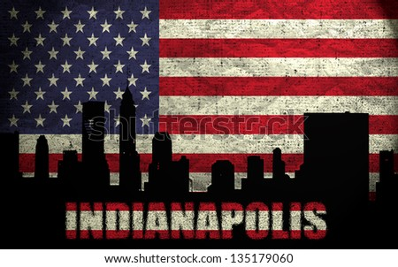 View of Indianapolis City on the Grunge American Flag - stock photo