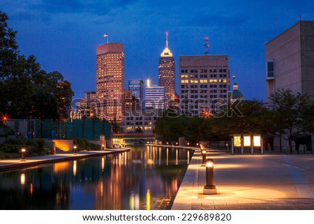 View of Indianapolis skyline from the Canal at night - stock photo