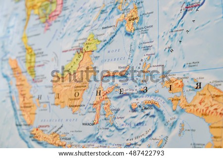 view of indonesia on the world map geographical view altered on colors perspective and