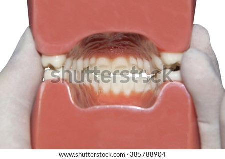 View of interior mouth isolated on white - stock photo