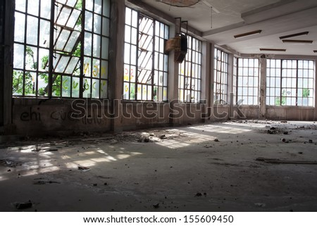 View of interior of an abandoned  building - stock photo