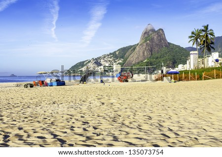 View of Ipanema Beach in the early morning, Brazil - stock photo