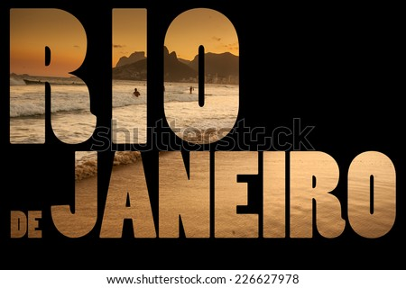 View of Ipanema Beach in the evening, Brazil  - stock photo