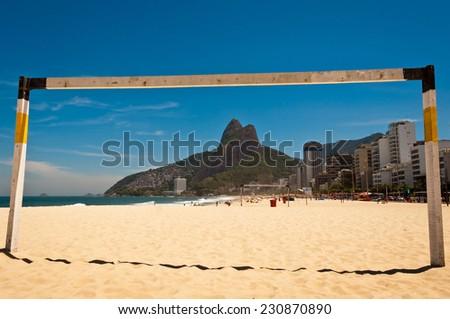 View of Ipanema Beach Through the Football Gate, Beautiful Landscape, Rio de Janeiro, Brazil - stock photo