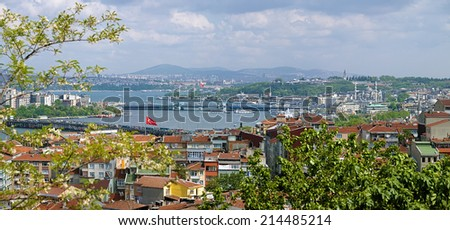 View of Istanbul and Golden Horn Estuary from the Yavuz Selim Mosque, Turkey - stock photo