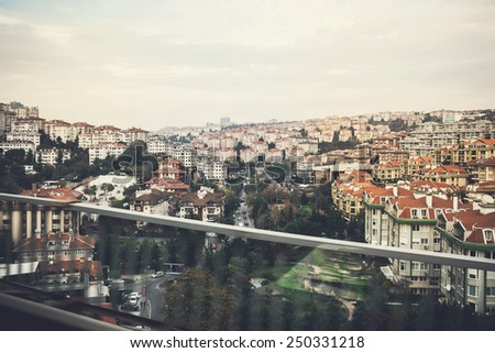 View of Istanbul city from Golden Horn between Europe and Asia, Turkey - stock photo