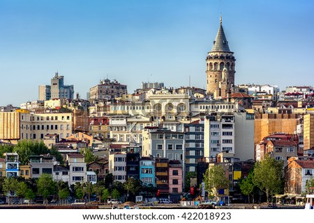 View of Istanbul with Galata Tower, Istanbul, Turkey.
