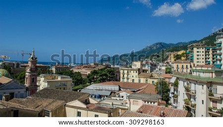 view of italian city salerno situated on the edge of famous amalfi coast near naples.