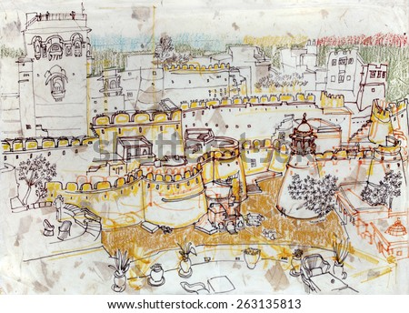 View of Jaisalmer, Rajasthan, India. Hand-drawn illustration. Travel sketch on textured paper.