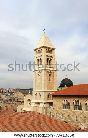 View of Jerusalem old city and the Lutheran Church of the Redeemer, Israel