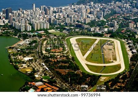 view of jockey club and Leblon in Rio de Janeiro - stock photo