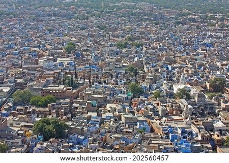 View of Jodhpur, the Blue City, from Mehrangarh Fort, Rajasthan, India