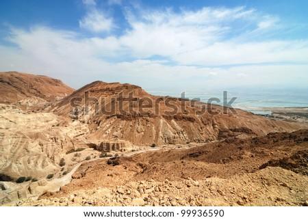 View of Judean desert landscape and Dead Sea - stock photo