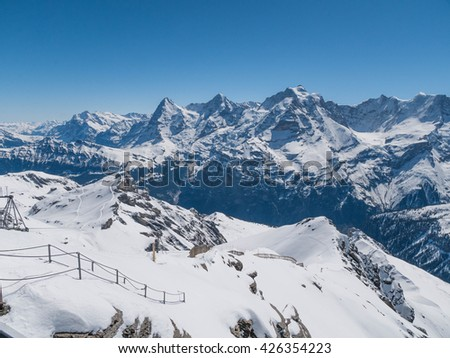 View of Jungfrau, Monch, Eiger from Schilthorn
