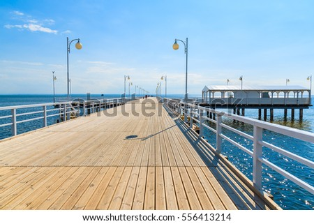View of Jurata pier in sunny summer day, Baltic Sea, Poland